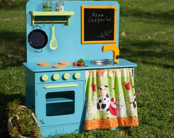 Wooden Toy kitchen blue