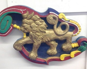 Lion Sculpture wood carving  wall hanging