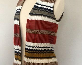 1970s Sears Hippie Boho Vest | Knitted Vest with Fringe | Sweater Vest Festival
