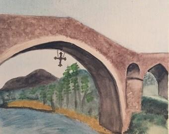 8x10 Bridge in Spain watercolor