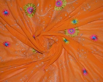 Vintage Orange Georgette Dupatta Wrap Dress Embroidered Scarf Hijab Indian Recycled Fabric Decor Long Veil Stole Scarves SD2406