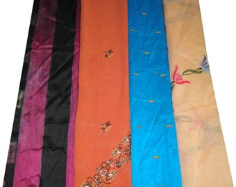 Vintage Sari Scrap Mix Indian Recycled 4Pcs Sewing Used Embroidered Fabric Curtain Drape Craft Supplies FREE SHIPPING SS 224