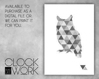 Wall Art, Prints, Home Decor, Inspirational Quotes, Nursery Prints, Printed or Digital File Available, Geometric Owl