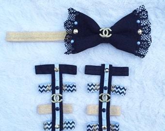 Inspired chanel set/ baby gladiators /barefoot sandals / gladiators / chanel baby /black white and gold set