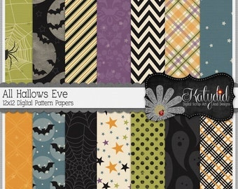 Halloween Digital Paper All Hallows Eve Digital 12x12 Patterned Holiday Seasonal Papers and Backgrounds for INSTANT DOWNLOAD