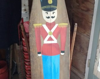 Sale!-Vintage-antique-ironing-board-hand-painted-tin-soldier