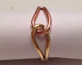 Copper and Brass love knot ring