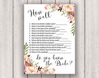 BRIDAL SHOWER GAME, How Well Do You Know the Bride, Printable Bridal Shower Games, Boho Chic Bridal Party Game, Printable Game Card, diy