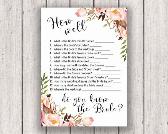BRIDAL SHOWER GAME How Well Do You Know The Bride Printable