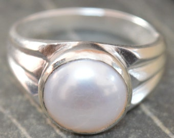 Fresh Water Pearl Ring, 925 Sterling Silver Ring, Handmade Ring, Astrological Birthstone Ring,Pearl Stone Ring, In All Ring Sizes Available