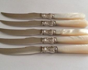 Vintage Reed & Barton Sterling Silver Ferules Mother of Pearl Fruit Knife Set of Five
