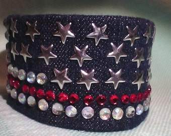 cuff women recycled jeans and rhinestone bracelet labels theme America