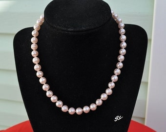 Pink Sim Pearl Necklace, Pink Pearl Strand, Vintage Pearl Necklace, Pink Pearls, Pink Necklace, Old Pearl Necklace