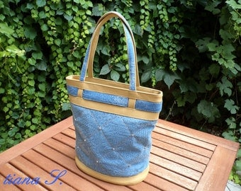 Jeans bag, blue beige, jeans, leather, rivets
