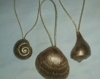 Set of 3 gold shell Christmas  ornaments