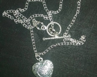 SALE! Silver chain heart shaped locket necklace