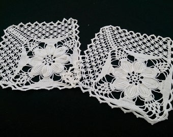 A Pair of White Crocheted Lace Doilies. Two Unique Crocheted Doilies RBT0684