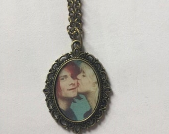 Kurt Cobain and Courtney Love Bronze or Silver Cameo Necklace
