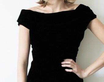 Vintage Short Black Velvet Party Dress