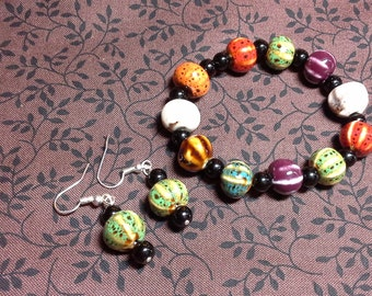 Multi-Colored Stone Bracelet and Earring Set