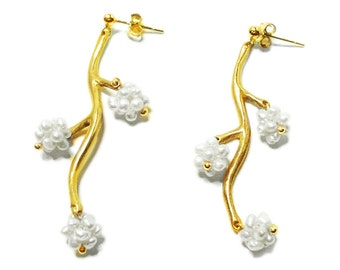 Flower Branch Earring with beads