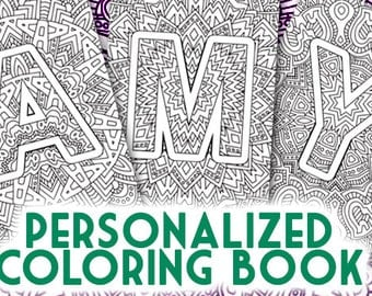 Personalized coloring book made from the letters of your name - DIGITAL FILE DOWNLOAD