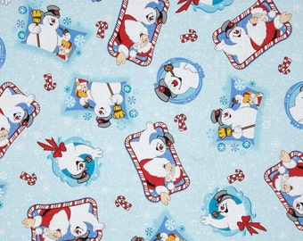 Frosty the Snowman and Santa Christmas Fabric, holiday fabric, winter fabric, Christmas fabric