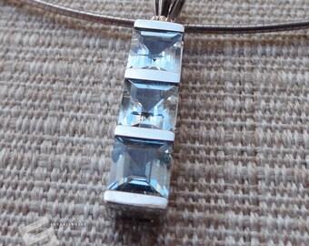 3Ct. Genuine Aquarmarine Faceted Gemstone In Sterling Silver Pendant, Natural MineStone Pendant, March Birthstone Pendant