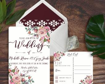 Botanical Bohemian Floral Modern Wedding Invitation and RSVP [Printable Digital Design]