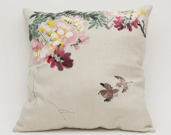 Hand Painted Wisteria Decor Pillow Cover
