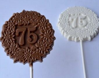Number 75 Chocolate Pops (12), 75 Chocolate Birthday Favors, 75 Celebration Chocolate, 75th Birthday Chocolates