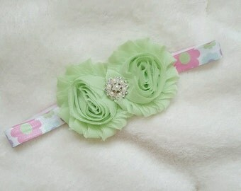 baby girl headband, green floral headband, shabby chic headband