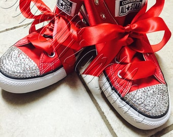Red Bling Converse with Satin Ribbon