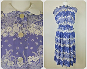 1940s blue and white original vintage floral peter pan collar dress size 6