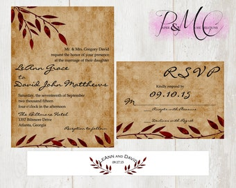 "PMC ""Autumn Love"" - 5x7 DIGITAL PRINTABLE Wedding Invitation Suite - Personalized"
