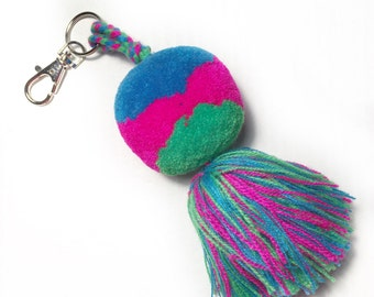 PomPom Keychain - Bag Tassel, Yarn PomPoms, Mexican Crafts, Boho Style, Girls.