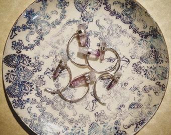 Single earring with amethyst