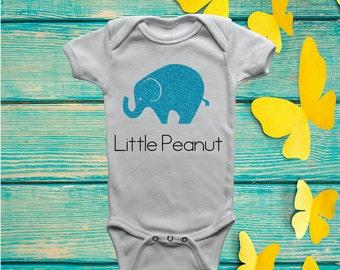 Little Peanut - Baby Onesie, Custom Baby Onesie, Elephant Baby Onesie, Little Peanut Elephant Onesie, Baby Shower Gift