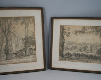 Vintage English Church Prints Newstead Abbey by E Muller Lord Byron Cottage Chic