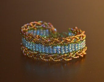 iridescent turquoises and brown cuff
