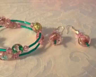 Japanese Cherry Blossom bracelet and earring set.