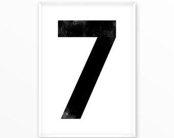 Number print 7, printable, 1-9 Poster, scandinavian design, nursery, printable, Typography, Poster, Inspirational Home Decor, wall art, gift