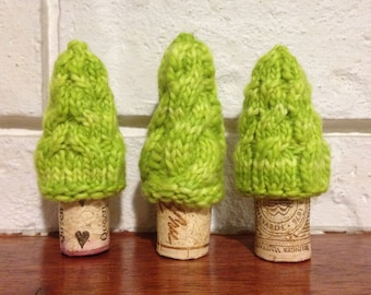 Wine Cork Trees, Knit Cables, Christmas decor, Set of 3, Lemongrass
