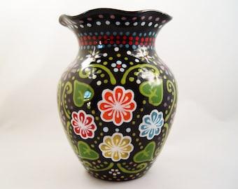 Hand-Painted Medium Black Ceramic Round Floral Vase