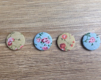 Floral magnets, rose magnets, floral print, vintage print, new home gift, magnet set, shabby chic gift, shabby chic kitchen