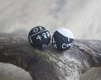 Maths earrings, 15mm buttons covered with a maths print fabric with a 925 sterling silver plated on steel, nickel free stud post.