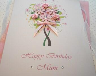 Personalised Birthday Card Handmade 3D Flowers Satin Roses 18th 20th 30th 40th 50th 60th 70th 80th Mother Grandmother Aunt Sister Daughter