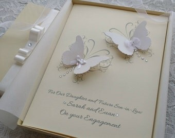 Boxed Wedding Anniversary Engagement Card Handmade Personalised 3D Butterflies Keepsake from Parents Grandparents Friends