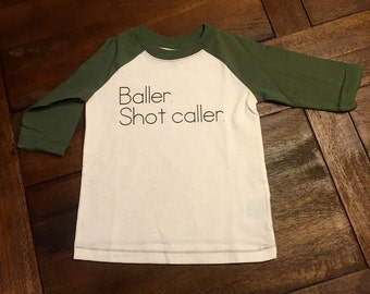 Baller. Shot Caller Green and Cream 3/4 Sleeve Shirt