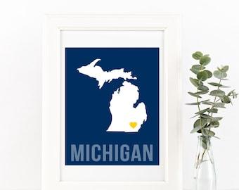 Michigan Home Print – Custom Michigan Print, Michigan Wall Art